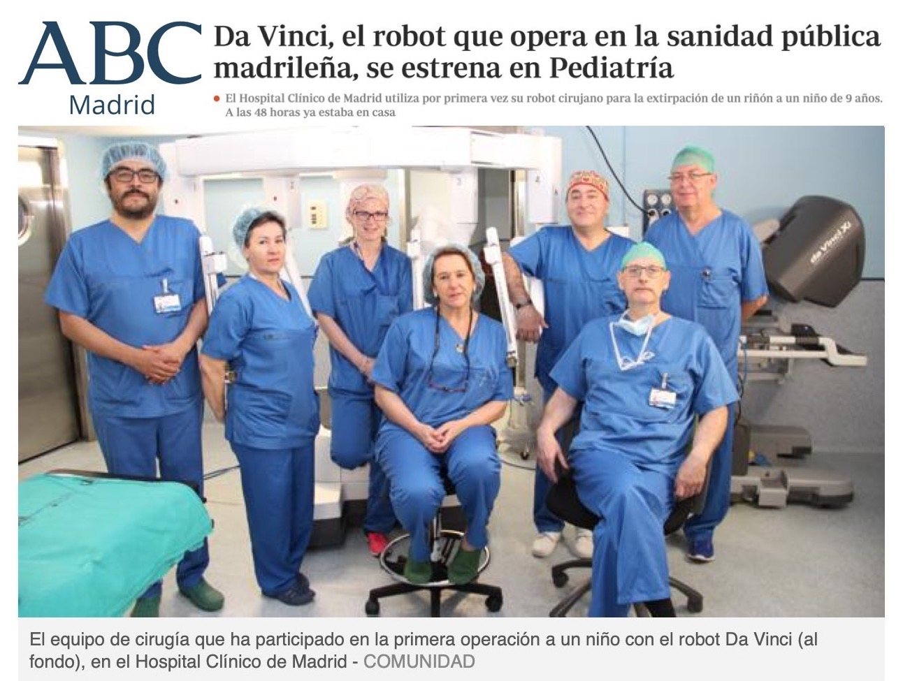 secla noticias abc da vinci pediatria